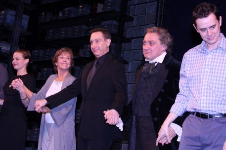 the curtain call--from left to right--Samantha, Mathis, me, Moises, Zach Grenier and Colin Hanks.