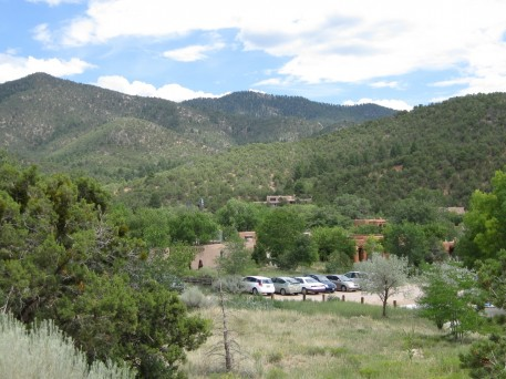 View across the parking lot to the Upaya Zen Center