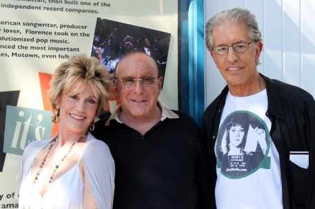 """Posing with Clive Davis and Richard in front of """"Baby, It's You"""" theatre"""