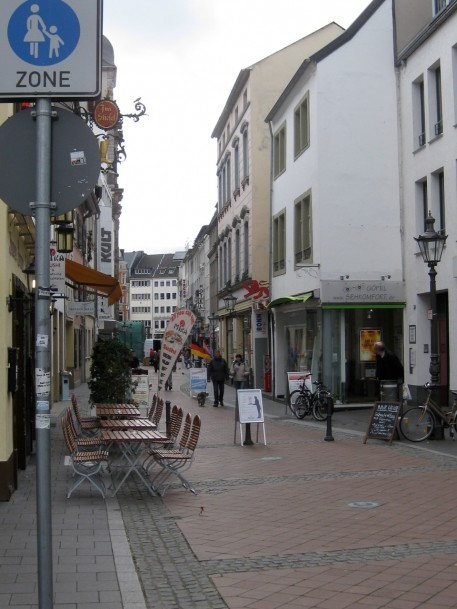 The cobblestone street where the Museum is located