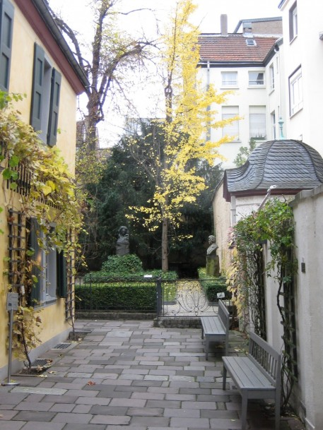 On the left is the Beethoven House. The garden is behind.