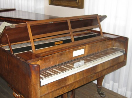 This is a piano forte that Beethoven played. Unlike the clavichord, the piano forte could be soft or loud as the name suggests