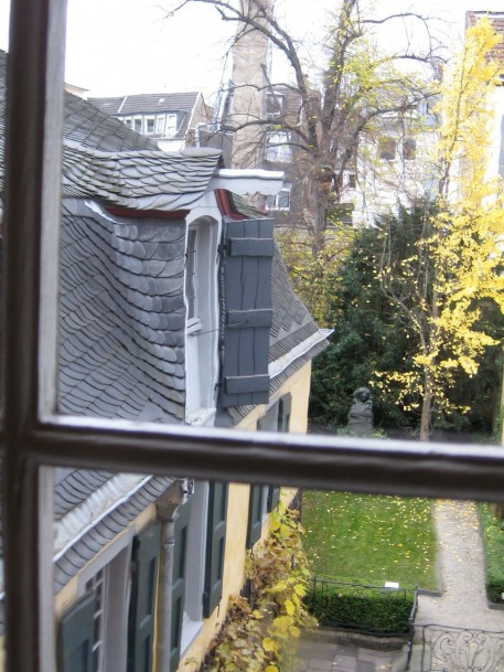 There's the room he was born in. Check out the beautiful slate tile roofing