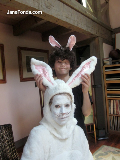 Easter bunny with Malcolm.