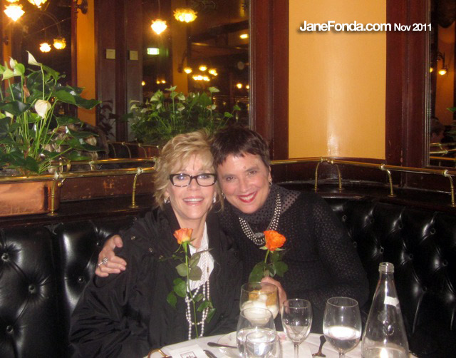Having dinner with Eve Ensler, at Brasserie Bofinger where the waiter gave us both a rose.