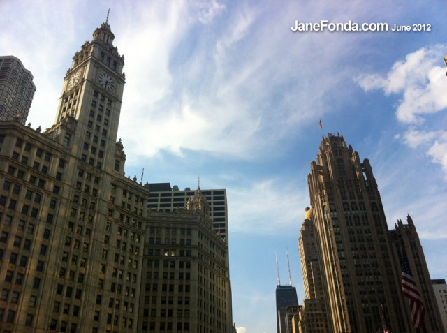 Three Famous buildings in one shot!  Wrigley Building to the left, Tribune Building to the right and Hancock building in the background