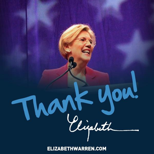Elizabeth Warren's on-line message to supporters.