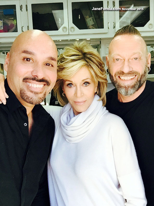 "My ""Grave & Frankie"" glam team: on left is my makeup artist, David DeLeon and on right is my hair stylist, Jonathan Hanousek. I adore them both!"