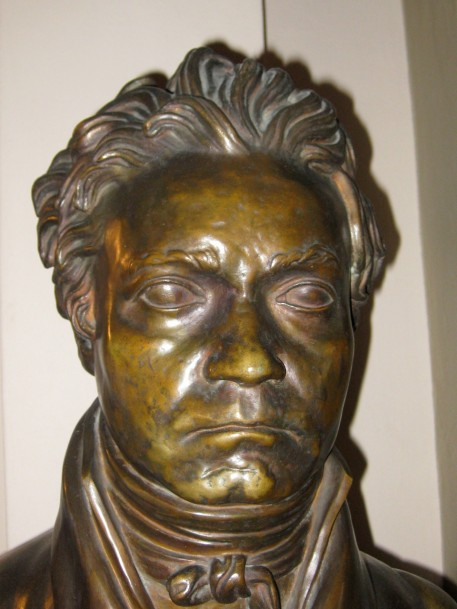 a bust of Beethoven made from a life mask (made of his face while he was alive)