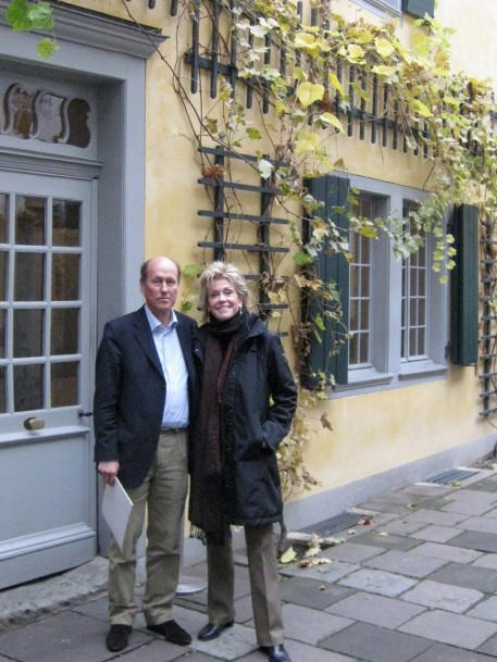 With Dr Ladenburger in front of Beethoven's house. The good doctor looks sterner than he is in life.