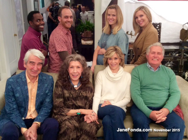 Left to right, back row: Barron Vaughn, Ethan Embry, Brooklyn Decker, June Diane Raphael - Front row: Sam Waterston, Lily, Jane, Martin Sheen