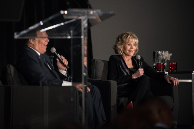 Jane Fonda speaks with Richard Roeper as part of a tribute to the actress on July 29, 2017 at the Radisson Blu Aqua Hotel. | Max Herman/For the Sun-Times