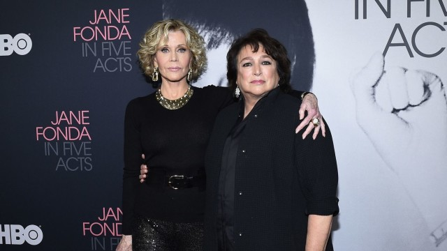 "Jane Fonda, left, with, director and producer Susan Lacy at the premiere of the HBO documentary ""Jane Fonda In Five Acts "" in Los Angeles. (Kevork Djansezian / Getty Images)"
